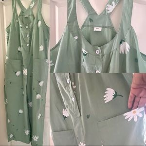 Mint Green Jumpsuit with Daisies